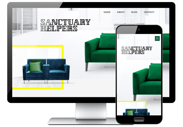 Desktop and mobile view of PSD conversion Sanctuary Helpers